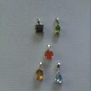 Jewelry - 5 Small Gemstone Pendants